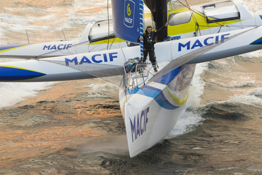 Aerial images of Francois Gabart onboard Ultim MACIF, training before the Round the Word Solo Handed Record, off Belle Ile, on October 16th, 2017 - Photo jean-Marie LIOT / ALEA / MACIF